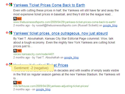 Example of SocialMention.com results for blog posts about Yankees ticket prices where the sentiment is negative