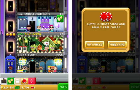 Icons for getting free chips for watching ads are integrated into other notifications that are part of the core game loops in Tiny Tower Vegas